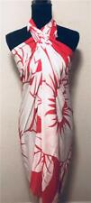 Hibiscus Flower Rayon Summer Red Floral Scarf Chiffon Beach Sarong Pareo Wrap