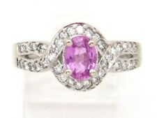 Round Diamond Right Hand Ring 1.24ct 14k White Gold Oval Pink Tourmaline and