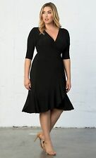 LANE BRYANT PLUS SIZE WHIMSY WRAP DRESS BY KIYONNA 14/16 BLACK