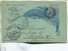 Brazil 80r postal card to Germany 1897
