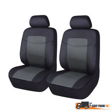 Front Car Seat Covers PU Leather Black Grey Cushions Universal Auto Fit From UK