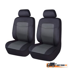 Black Grey Front Car Seat Covers PU Leather Cushions Universal Auto Fit