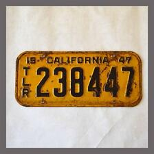1947 California Trailer RV YOM License Plate Original Vintage 238447 NOT CLEAR