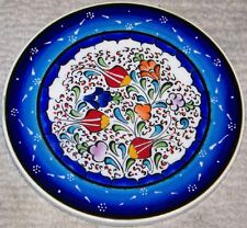 "Blue Handmade 6"" Round Turkish Iznik Floral Pattern Ceramic Wall Plate"