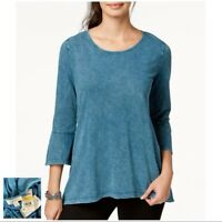 NEW STYLE & CO Cotton Moroccan Blue 3/4 Bell Sleeve Tee Blouse Top SIZE MP