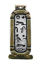 Pendentif Egyptien Cartouche Cleopâtre En Étain Argenté relevé à l'or+ Chaîne