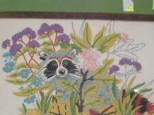 Vtg 1982 Vogart Stamped Crewel Stitchery Kit Raccoon Pretty Colors 8x10 NIP #LK8