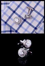 Bottone GEMELLI CAMICIA UOMO,Donna con Cristalli Swarovski CERIMONIA  S19 bianco