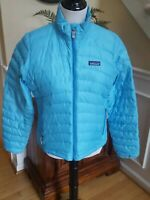 Patagonia Women's Ultralight Down Jacket Small S Goose Down Full Zip Blue EUC