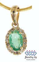 Emerald Birthstone 14K Yellow Gold 0.28CT Real Natural Halo Diamond Pendant