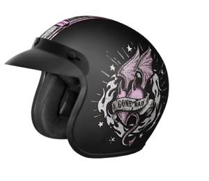 """New STUDDS Jetstar Classic D6 """"Good Girl Gone Bad"""" Open Face Helmet Black Color"""
