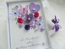 Handmade Personalised Mothers Day/ Birthday Card 30,40,50,60 any age Box BL