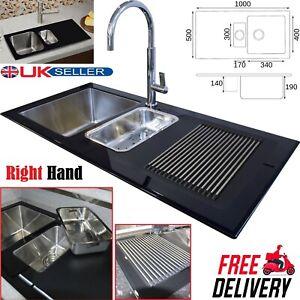 Modern Stainless Steel Black Reflection Glass Kitchen Sink 1.5 Bowl 1000 x 500mm