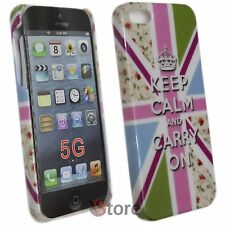 Cover Custodia Per iPhone 5S 5 5G Inghilterra KEEP CALM AND CARRY ON + Pellicola