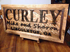 "11"" x 23"" x 3/4"" Personalized Carved Wood Sign, Welcome Sign"