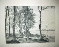 gravure eau-forte Côte de Grace Honfleur de Corot gravée par Milius 1895