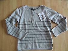 JOTTUM schöner Pullover grau m. Knopfleiste KLAV Gr. 128  NEU