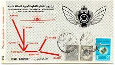 LIBYEN 1965 Gründung der Königlich Libyschen Luftfahrtgesellschaft Karte ABART