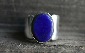 Natural Lapis Lazuli Gemstone with 925 Sterling Silver Ring for Men's #982