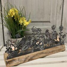 Metal Bird Easter Tea Light Holder Candle Log Vintage Table Decoration Mantel