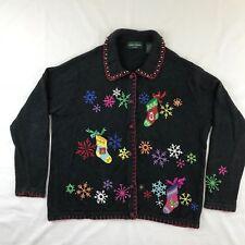 Lemon Grass Studio Cardigan Christmas Sweater Snowflakes Stockings Size L Large