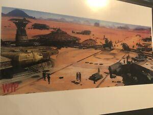 Star Wars Daisy Ridley Concept Art Jakku Rey Millennium Falcon Print Tattooine