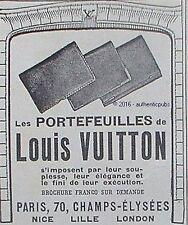 PUBLICITE LOUIS VUITTON PORTEFEUILLES BAGAGERIE DE LUXE DE 1925 FRENCH AD PUB