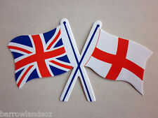 Union Jack / England Crossed Flags - Car Sticker / Decal - Gift or Souvenir