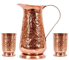 handmade embossed ayurveda benefit pure copper water pitcher jug with 2 glasses