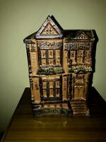 VTG Pottery Victorian House Brown Vase Utensil Jar Counterpoint San Francisco