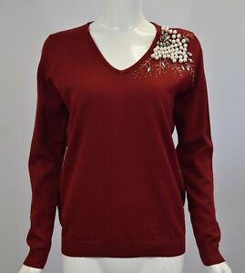 Women's Girl's Pearls Embroidered Full Sleeve Winter Party Knitted Jumper Top