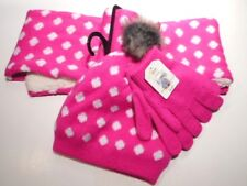 Gloves Sock hats Girls Neck Scarf Outerwear Girls clothes Electric Pink 3pc