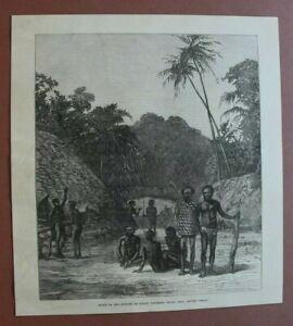 L10l) Holzstich Santa Cruz Insel 1871 Szene Mord Bischof Patteson Pazifik 26x28