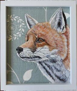 Original wildlife red fox animal picture painting vanessa Arbuthnott fabric
