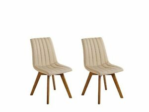Set of 2 Fabric Dining Chairs Sand Beige Polyester Solid Wood Dark Tone Legs Cal