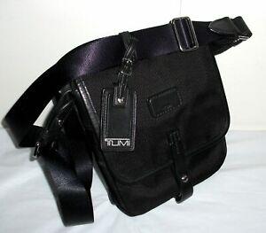 TUMI Alpha 3 Pocket Nylon Leather MESSENGER SATCHEL BRIEFCASE BAG Black Shoulder