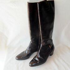 Salvatore Ferragamo Tedesca Tall Boots size 10 B W/ Box $475 Retail Brown Nice