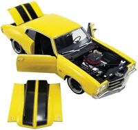 """1970 CHEVROLET CHEVELLE """"STREET FIGHTER"""" YELLOW 1/18 DIECAST CAR ACME A1805515"""