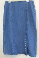 Denim Skirt Ladies Modest Christopher & Banks 100% Cotton Sz 12