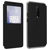 Smart view window flip case for Oneplus 7 Pro, slim cover - Black