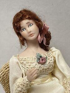 VTG Artisan LIZ STARYK Pretty Lady Doll Original Stand Dollhouse Miniature 1:12
