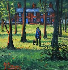 Lovely James Downie Original Oil Painting - Walking The Dog Through The Woods