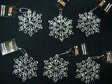6 XL Acryl Schneeflocke Aufhänger 11cm Weihnachtsbaumdekoration