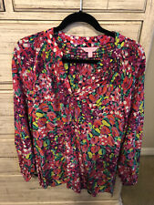 Lilly Pulitzer Holy Grail Elsa Silk Blouse Wild Confetti Large
