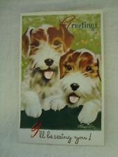 "POSTCARD - Bamforth ""Play Time Pets"" Series G5 Terrier Dogs I'll be seeing you"