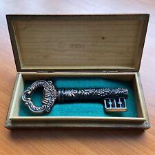 More details for vintage brass veritas skeleton key corkscrew wine bottle opener