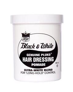 Original Black and White Pluko Hair Wax Dressing Pomade 200ml Tub Best Price New