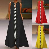 UK Women Summer Sexy Dress Party Sleeveless Casual Loose O-Neck Long Maxi Dress