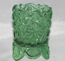 FENTON Green Glass DAISIES & BUTTONS Shaped Vintage TOOTHPICK Holder