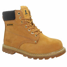 MENS NEW LEATHER  SAFETY  WORK  BOOTS STEEL TOE CAP  SHOES SAND HONEY SIZE 10/44